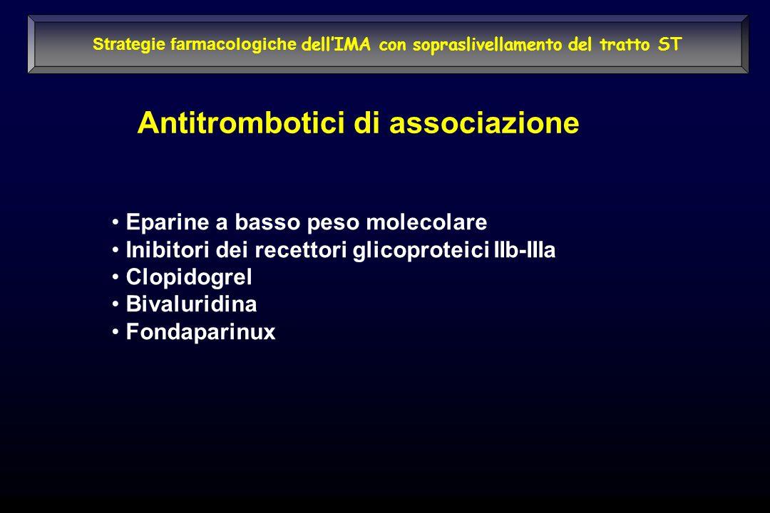 Strategie farmacologiche dellIMA con sopraslivellamento del tratto ST Antitrombotici di associazione Eparine a basso peso molecolare Inibitori dei rec