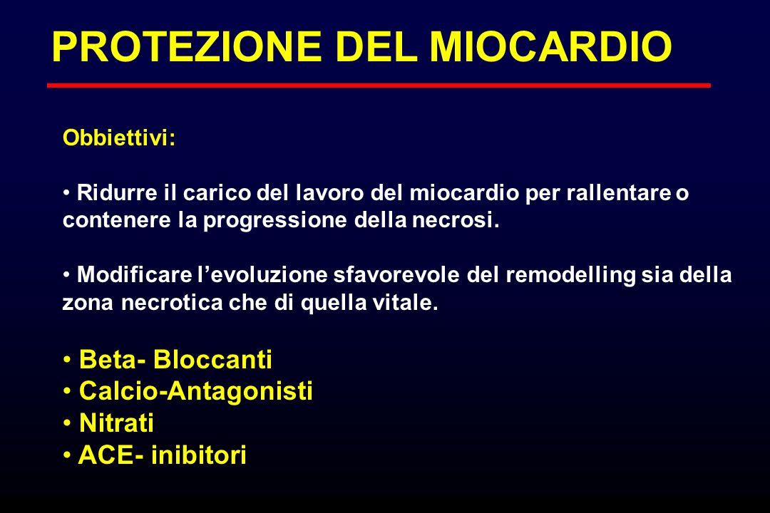 PROTEZIONE DEL MIOCARDIO Obbiettivi: Ridurre il carico del lavoro del miocardio per rallentare o contenere la progressione della necrosi. Modificare l