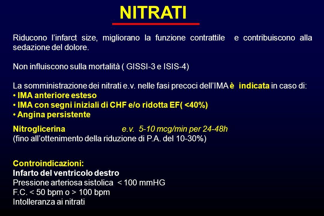 NITRATI Riducono linfarct size, migliorano la funzione contrattile e contribuiscono alla sedazione del dolore. Non influiscono sulla mortalità ( GISSI