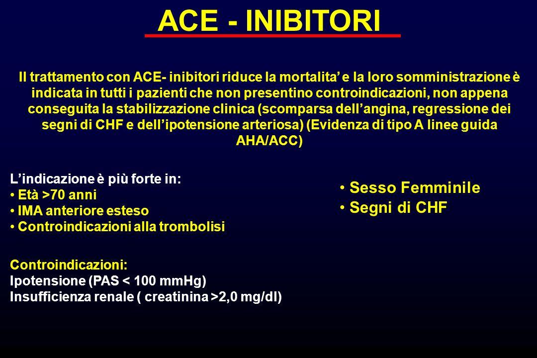 ACE - INIBITORI Il trattamento con ACE- inibitori riduce la mortalita e la loro somministrazione è indicata in tutti i pazienti che non presentino con