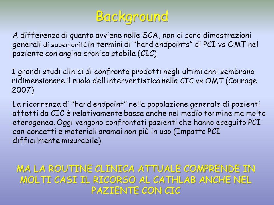 Background A differenza di quanto avviene nelle SCA, non ci sono dimostrazioni generali di superiorità in termini di hard endpoints di PCI vs OMT nel