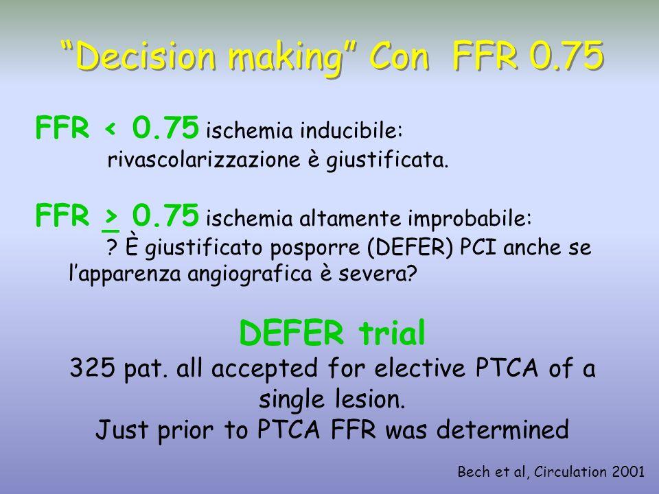 FFR < 0.75 ischemia inducibile: rivascolarizzazione è giustificata. FFR > 0.75 ischemia altamente improbabile: ? È giustificato posporre (DEFER) PCI a