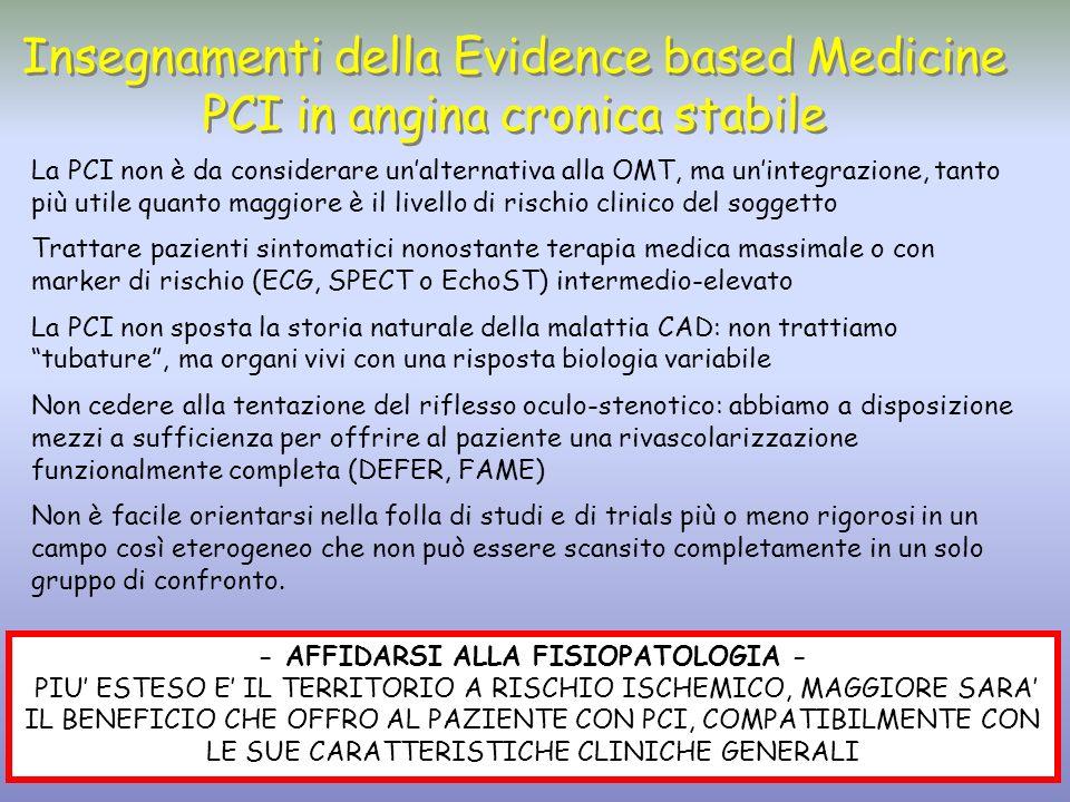 Insegnamenti della Evidence based Medicine PCI in angina cronica stabile Insegnamenti della Evidence based Medicine PCI in angina cronica stabile La P
