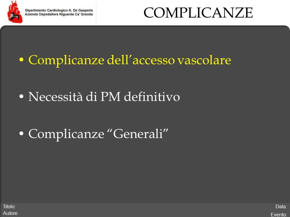 Data: Evento: Titolo: Autore: COMPLICANZE Complicanze dellaccesso vascolare Necessità di PM definitivo Complicanze Generali