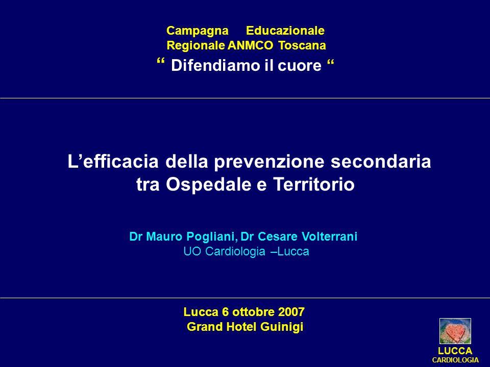 Campagna Educazionale Regionale ANMCO Toscana Difendiamo il cuore LUCCA CARDIOLOGIA Lefficacia della prevenzione secondaria tra Ospedale e Territorio