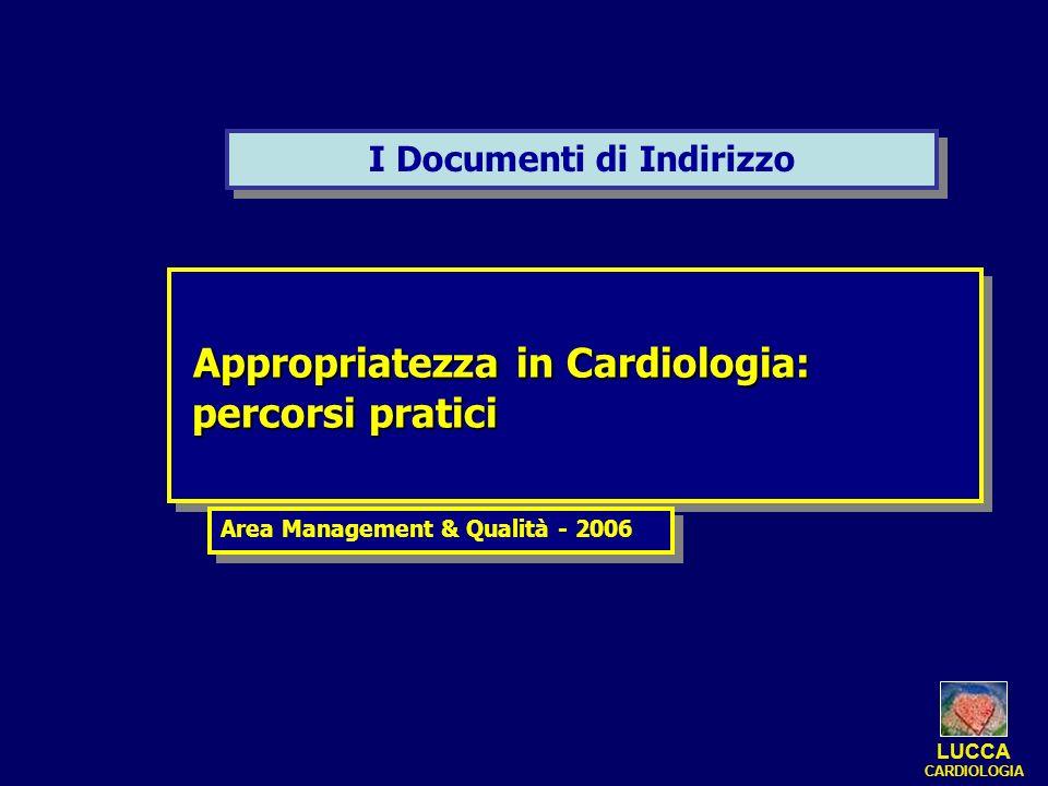 I Documenti di Indirizzo Appropriatezza in Cardiologia: Appropriatezza in Cardiologia: percorsi pratici percorsi pratici Appropriatezza in Cardiologia