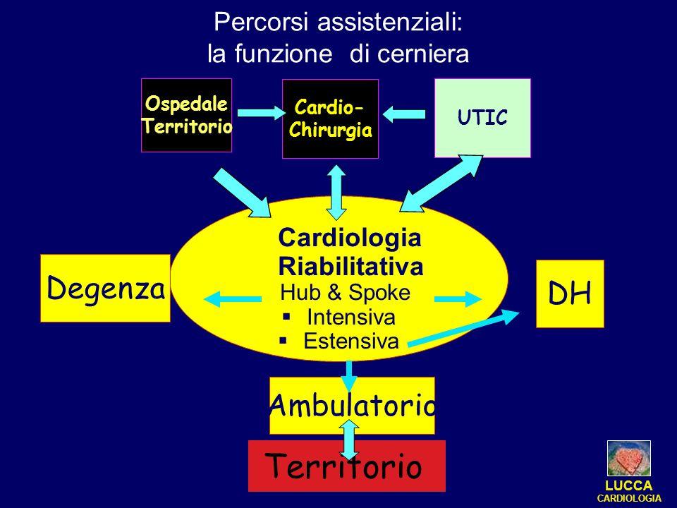 Percorsi assistenziali: la funzione di cerniera Ospedale Territorio Cardio- Chirurgia Cardiologia Riabilitativa Hub & Spoke Intensiva Estensiva UTIC D