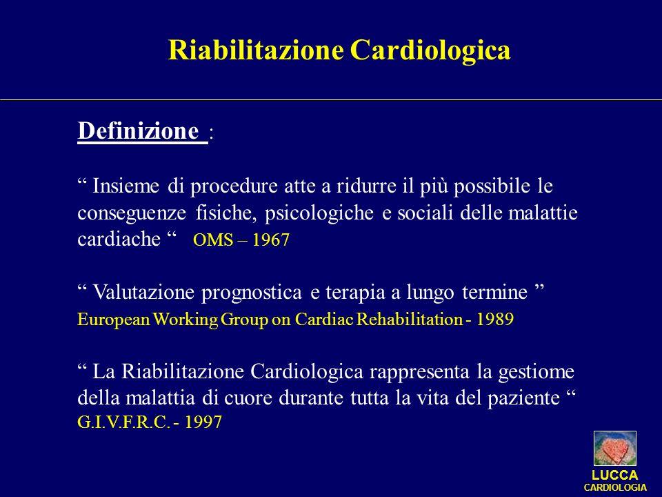 Riabilitazione Cardiologica Definizione : Insieme di procedure atte a ridurre il più possibile le conseguenze fisiche, psicologiche e sociali delle ma