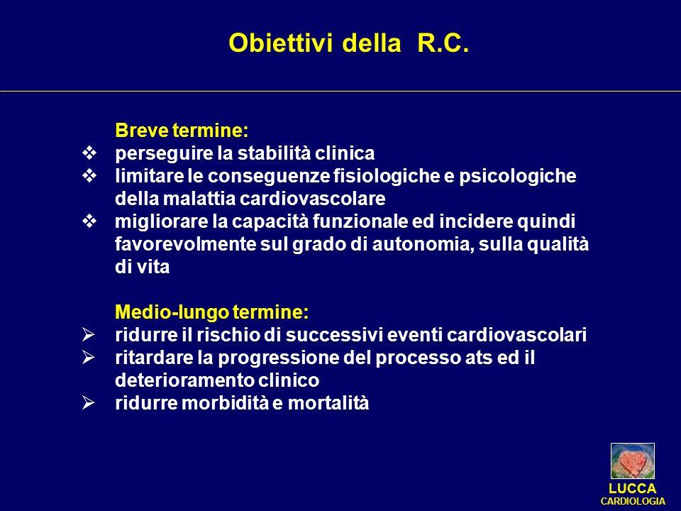 Breve termine: perseguire la stabilità clinica limitare le conseguenze fisiologiche e psicologiche della malattia cardiovascolare migliorare la capaci