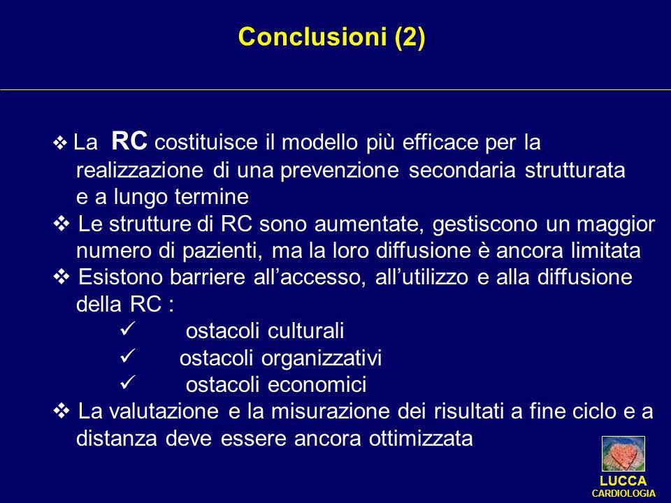 LUCCA CARDIOLOGIA Conclusioni (2) La RC costituisce il modello più efficace per la realizzazione di una prevenzione secondaria strutturata e a lungo t
