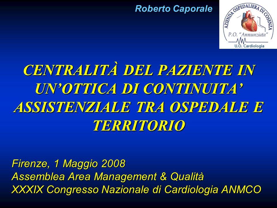 CENTRALITÀ DEL PAZIENTE IN UNOTTICA DI CONTINUITA ASSISTENZIALE TRA OSPEDALE E TERRITORIO Firenze, 1 Maggio 2008 Assemblea Area Management & Qualità X