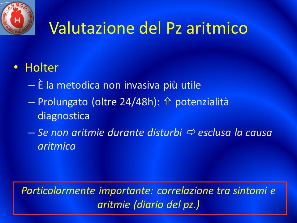 Valutazione del Pz aritmico Holter – È la metodica non invasiva più utile – Prolungato (oltre 24/48h): potenzialità diagnostica – Se non aritmie duran