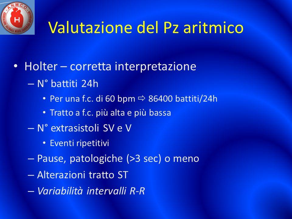Valutazione del Pz aritmico Holter – corretta interpretazione – N° battiti 24h Per una f.c. di 60 bpm 86400 battiti/24h Tratto a f.c. più alta e più b