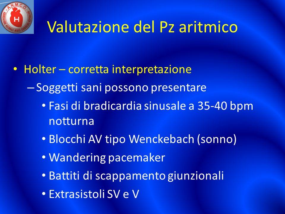 Valutazione del Pz aritmico Holter – corretta interpretazione – Soggetti sani possono presentare Fasi di bradicardia sinusale a 35-40 bpm notturna Blo