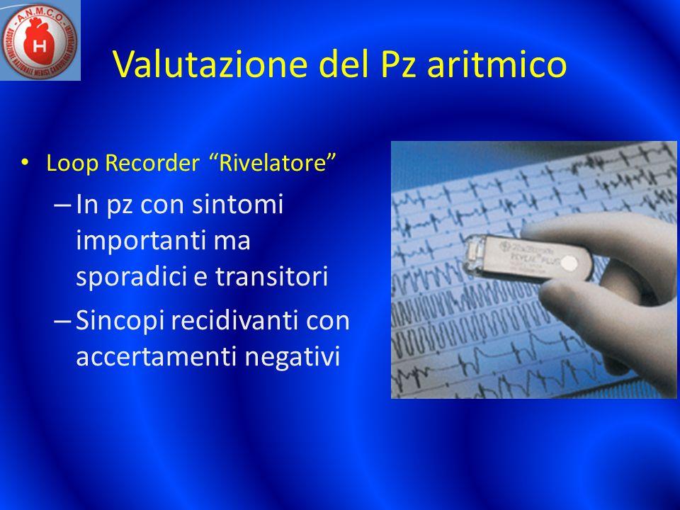 Valutazione del Pz aritmico Loop Recorder Rivelatore – In pz con sintomi importanti ma sporadici e transitori – Sincopi recidivanti con accertamenti n