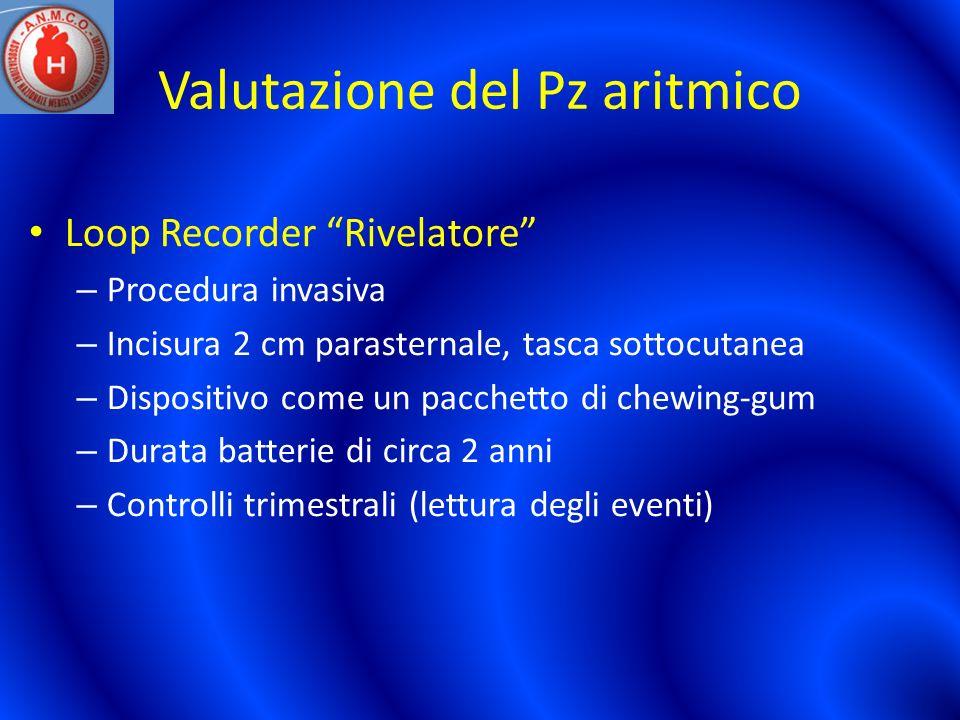 Valutazione del Pz aritmico Loop Recorder Rivelatore – Procedura invasiva – Incisura 2 cm parasternale, tasca sottocutanea – Dispositivo come un pacch