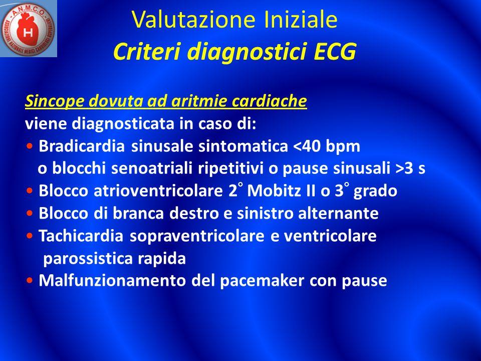 Valutazione Iniziale Criteri diagnostici ECG Sincope dovuta ad aritmie cardiache viene diagnosticata in caso di: Bradicardia sinusale sintomatica <40