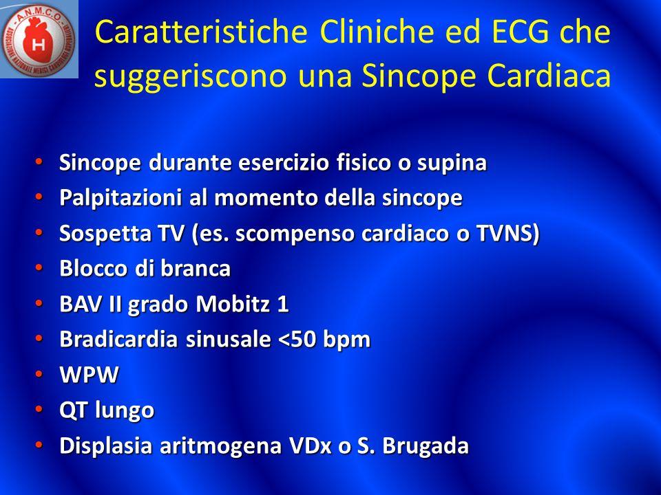 Caratteristiche Cliniche ed ECG che suggeriscono una Sincope Cardiaca Sincope durante esercizio fisico o supina Sincope durante esercizio fisico o sup