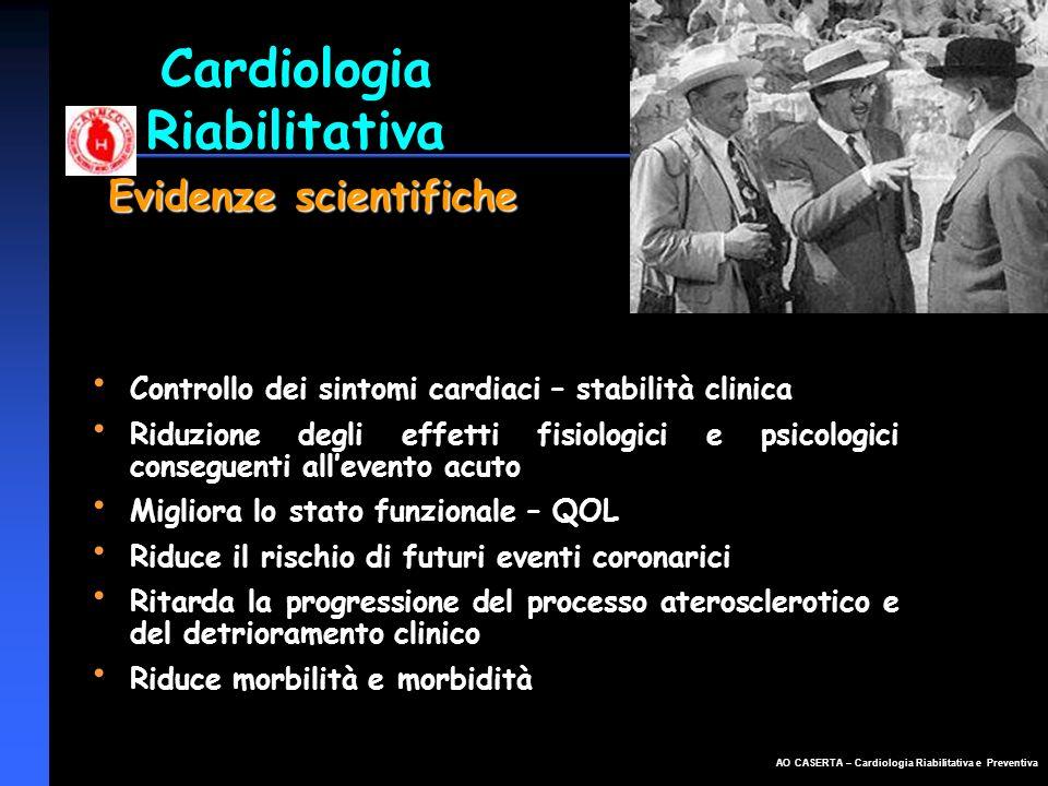 AO CASERTA – Cardiologia Riabilitativa e Preventiva Controllo dei sintomi cardiaci – stabilità clinica Riduzione degli effetti fisiologici e psicologi