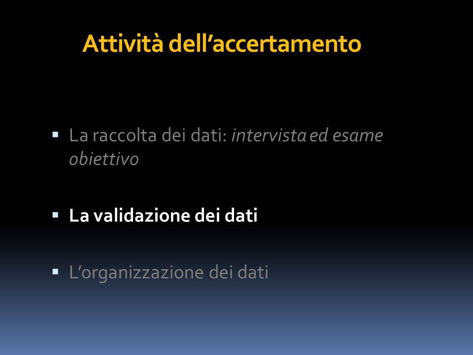 Attività dellaccertamento La raccolta dei dati: intervista ed esame obiettivo La validazione dei dati Lorganizzazione dei dati