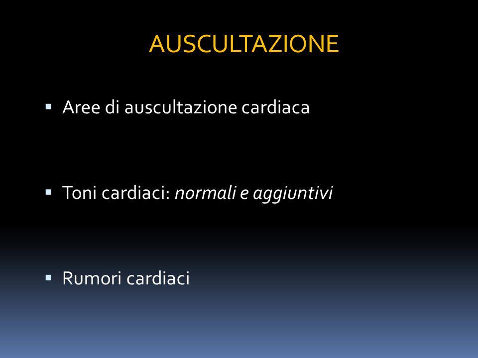 AUSCULTAZIONE Aree di auscultazione cardiaca Toni cardiaci: normali e aggiuntivi Rumori cardiaci