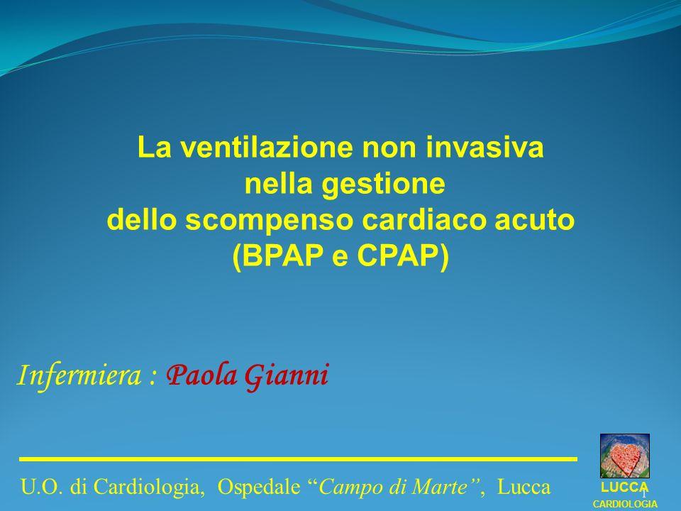 La ventilazione non invasiva nella gestione dello scompenso cardiaco acuto (BPAP e CPAP) Infermiera : Paola Gianni LUCCA CARDIOLOGIA U.O. di Cardiolog