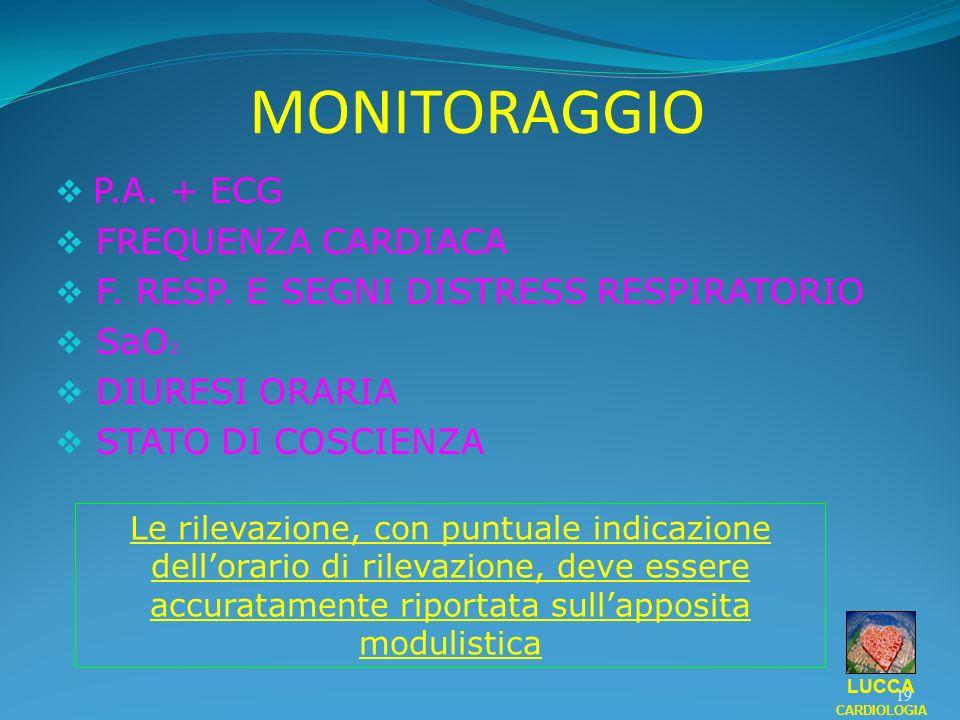 MONITORAGGIO P.A. + ECG FREQUENZA CARDIACA F. RESP. E SEGNI DISTRESS RESPIRATORIO SaO 2 DIURESI ORARIA STATO DI COSCIENZA 19 LUCCA CARDIOLOGIA Le rile