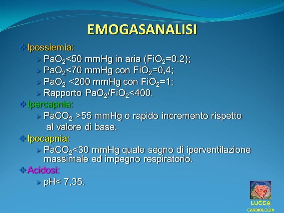 EMOGASANALISI Ipossiemia: PaO 2 <50 mmHg in aria (FiO 2 =0,2); PaO 2 <70 mmHg con FiO 2 =0,4; PaO 2 <200 mmHg con FiO 2 =1; Rapporto PaO 2 /FiO 2 <400