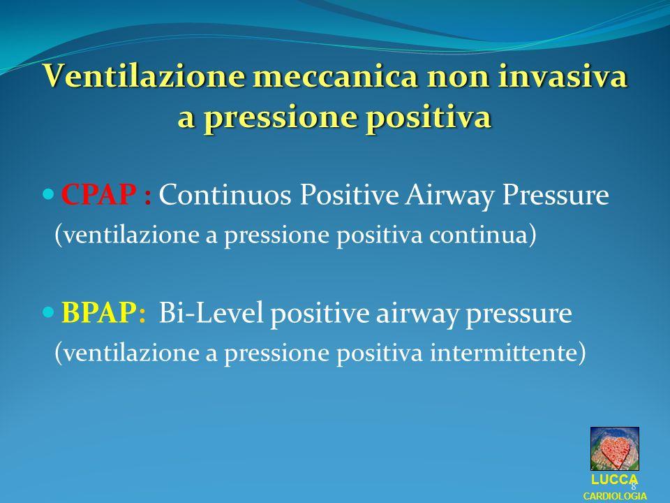 Ventilazione meccanica non invasiva a pressione positiva LUCCA CARDIOLOGIA 8 CPAP : Continuos Positive Airway Pressure (ventilazione a pressione posit
