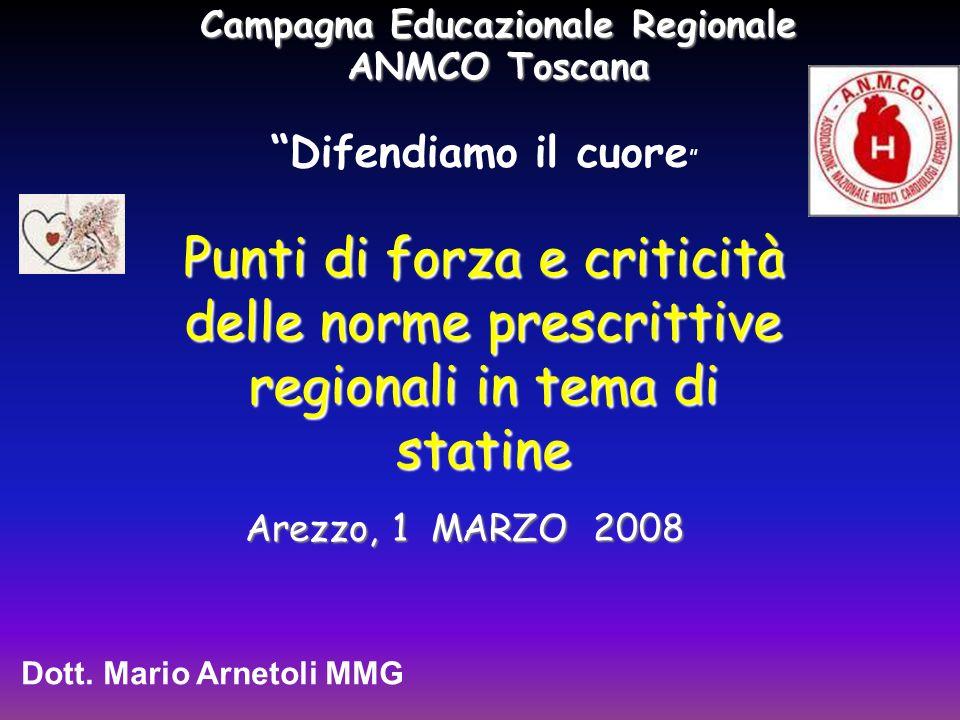 Punti di forza e criticità delle norme prescrittive regionali in tema di statine Dott.