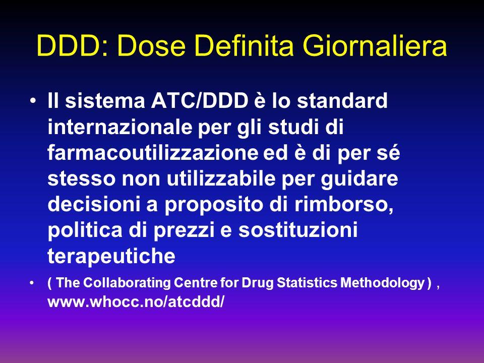 DDD: Dose Definita Giornaliera Il sistema ATC/DDD è lo standard internazionale per gli studi di farmacoutilizzazione ed è di per sé stesso non utilizzabile per guidare decisioni a proposito di rimborso, politica di prezzi e sostituzioni terapeutiche ( The Collaborating Centre for Drug Statistics Methodology ), www.whocc.no/atcddd/