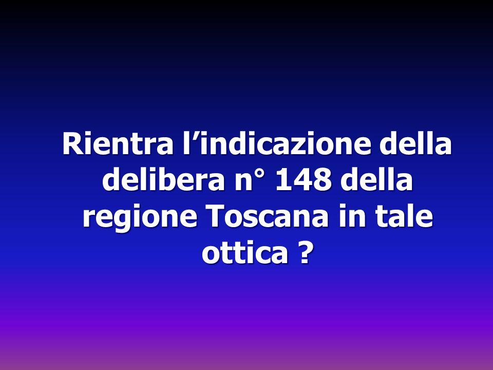Rientra lindicazione della delibera n° 148 della regione Toscana in tale ottica .