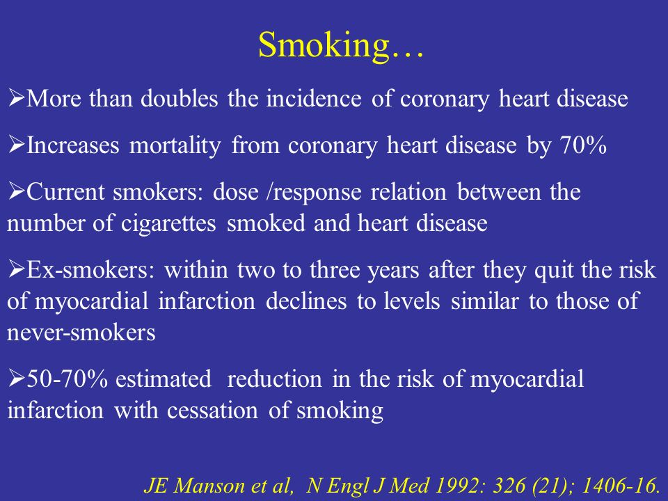 JE Manson et al, N Engl J Med 1992: 326 (21); 1406-16. Smoking… More than doubles the incidence of coronary heart disease Increases mortality from cor