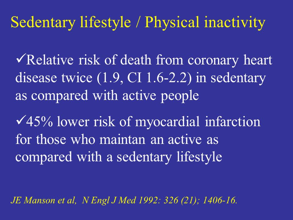 Sedentary lifestyle / Physical inactivity JE Manson et al, N Engl J Med 1992: 326 (21); 1406-16. Relative risk of death from coronary heart disease tw
