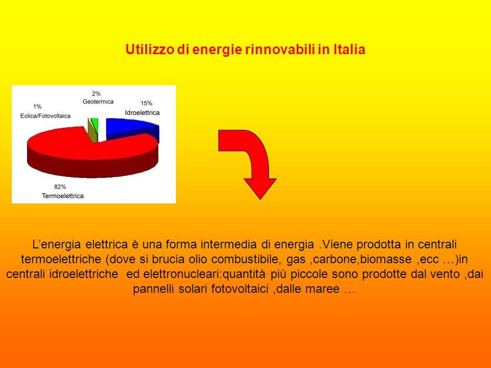 Utilizzo di energie rinnovabili in Italia Lenergia elettrica è una forma intermedia di energia.Viene prodotta in centrali termoelettriche (dove si bru