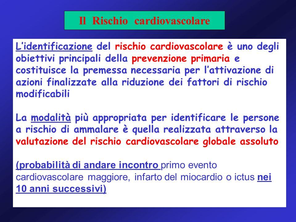 Lidentificazione del rischio cardiovascolare è uno degli obiettivi principali della prevenzione primaria e costituisce la premessa necessaria per latt