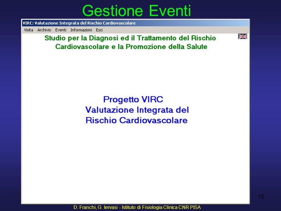 D. Franchi, G. Iervasi - Istituto di Fisiologia Clinica CNR PISA 10 Gestione Eventi