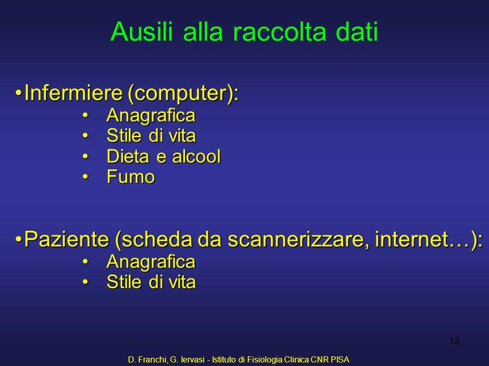 D. Franchi, G. Iervasi - Istituto di Fisiologia Clinica CNR PISA 13 Infermiere (computer):Infermiere (computer): AnagraficaAnagrafica Stile di vitaSti