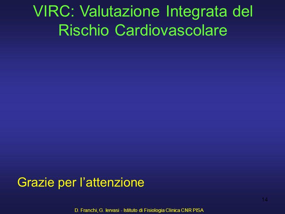 D. Franchi, G. Iervasi - Istituto di Fisiologia Clinica CNR PISA 14 Grazie per lattenzione VIRC: Valutazione Integrata del Rischio Cardiovascolare