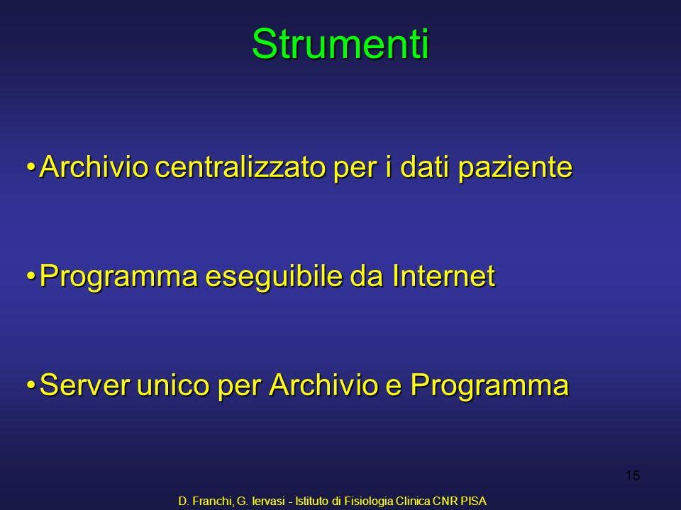 D. Franchi, G. Iervasi - Istituto di Fisiologia Clinica CNR PISA 15 Archivio centralizzato per i dati pazienteArchivio centralizzato per i dati pazien