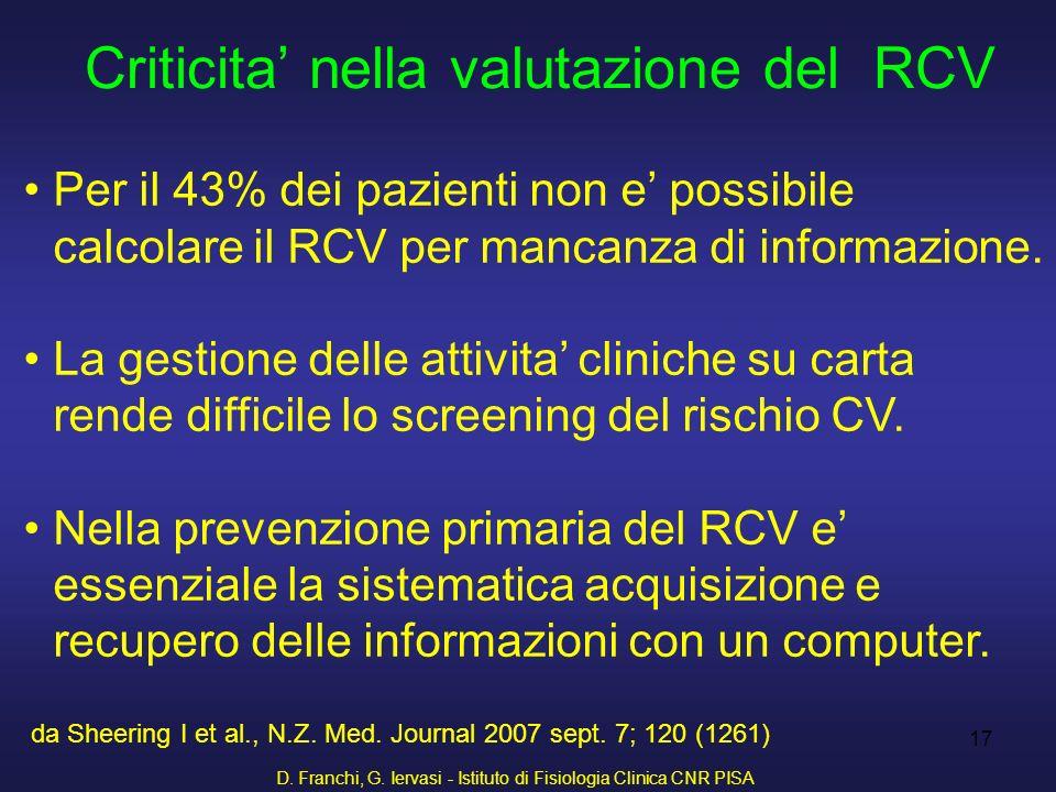 D. Franchi, G. Iervasi - Istituto di Fisiologia Clinica CNR PISA 17 Criticita nella valutazione del RCV Per il 43% dei pazienti non e possibile calcol