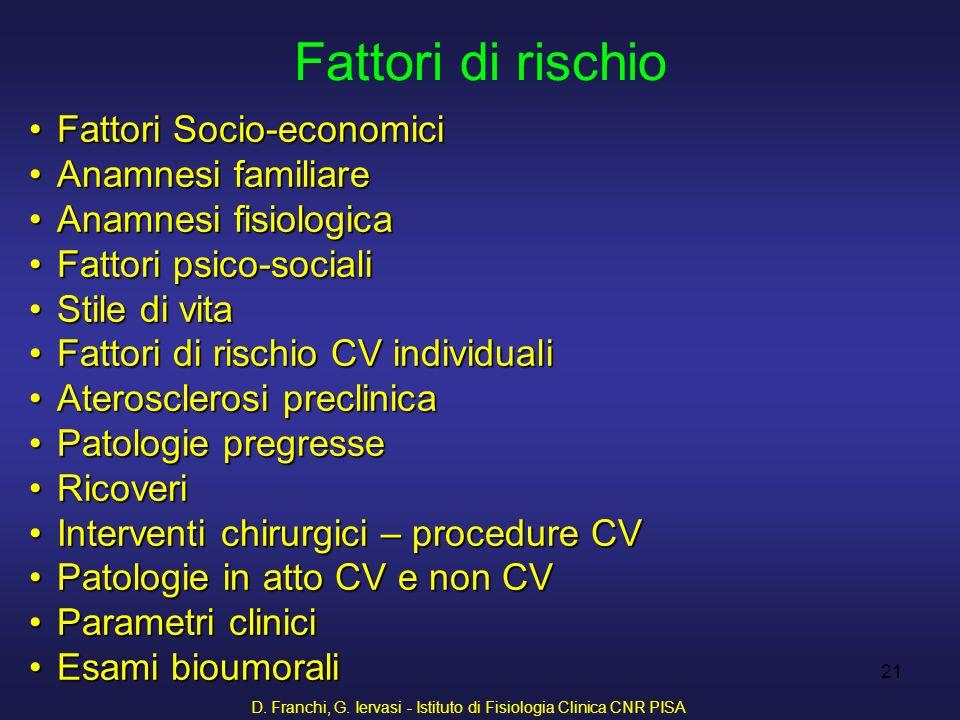 D. Franchi, G. Iervasi - Istituto di Fisiologia Clinica CNR PISA 21 Fattori Socio-economiciFattori Socio-economici Anamnesi familiareAnamnesi familiar