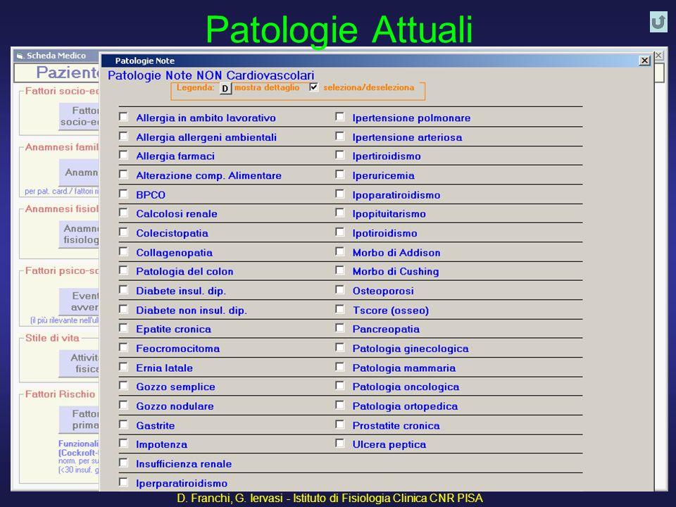 D. Franchi, G. Iervasi - Istituto di Fisiologia Clinica CNR PISA 36 Patologie Attuali