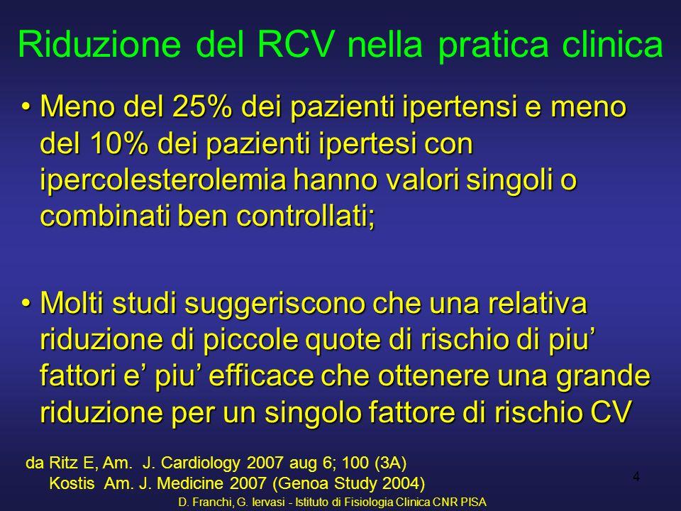 D. Franchi, G. Iervasi - Istituto di Fisiologia Clinica CNR PISA 4 Riduzione del RCV nella pratica clinica Meno del 25% dei pazienti ipertensi e meno