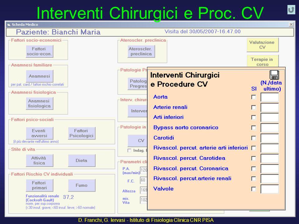 D. Franchi, G. Iervasi - Istituto di Fisiologia Clinica CNR PISA 42 Interventi Chirurgici e Proc. CV