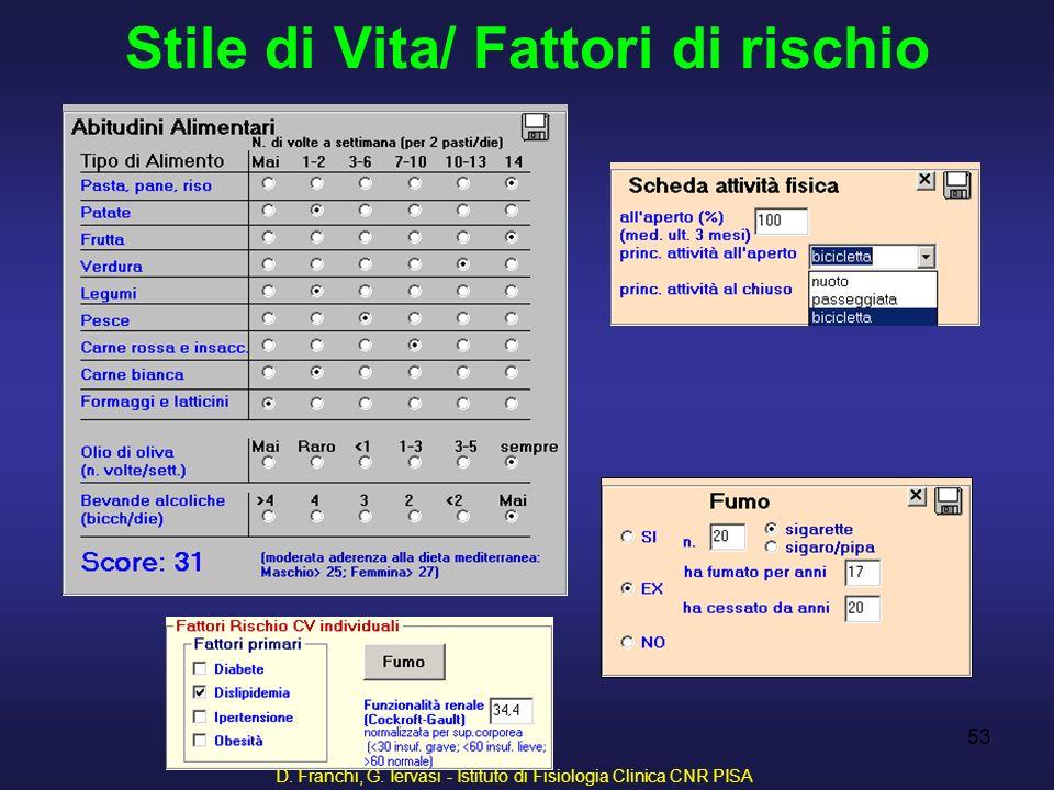D. Franchi, G. Iervasi - Istituto di Fisiologia Clinica CNR PISA 53 Stile di Vita/ Fattori di rischio