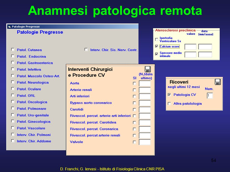 D. Franchi, G. Iervasi - Istituto di Fisiologia Clinica CNR PISA 54 Anamnesi patologica remota
