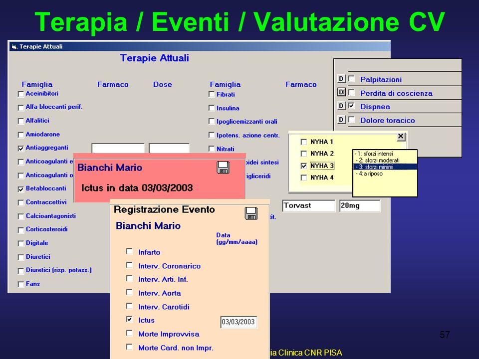 D. Franchi, G. Iervasi - Istituto di Fisiologia Clinica CNR PISA 57 Terapia / Eventi / Valutazione CV