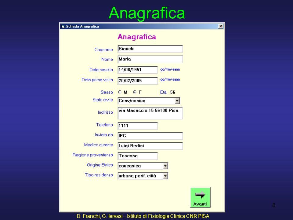 D. Franchi, G. Iervasi - Istituto di Fisiologia Clinica CNR PISA 29 Anamnesi ostetrica-ginecologica
