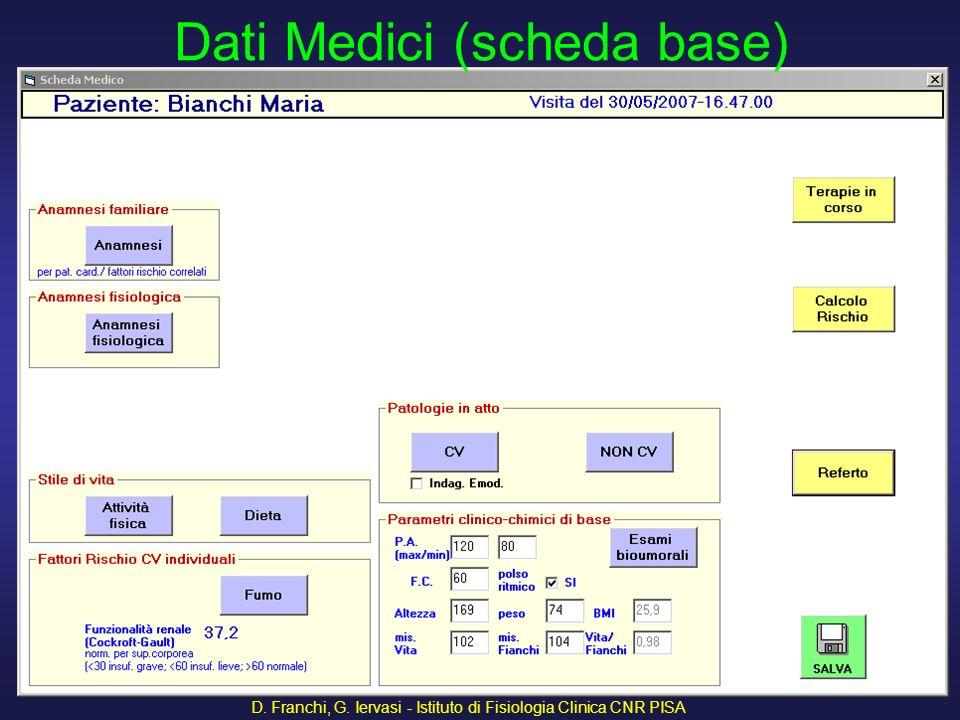 D. Franchi, G. Iervasi - Istituto di Fisiologia Clinica CNR PISA 9 Dati Medici (scheda base)